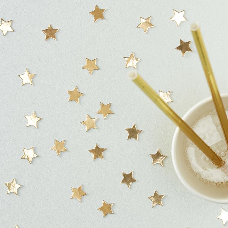 Konfetti - Stjärnor - Guld