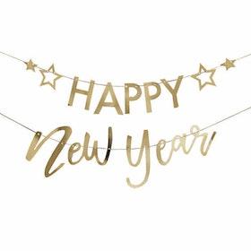 Girlang - Happy New Year - Guld & Stjärnor