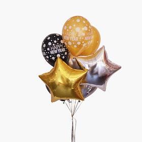 Ballongbukett - Gold & Silver Stars