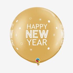Jätteballong - Happy New Year Guld