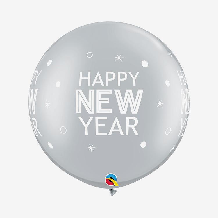 Jätteballong - Happy New Year Silver