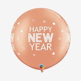 Jätteballong - Happy New Year Roséguld