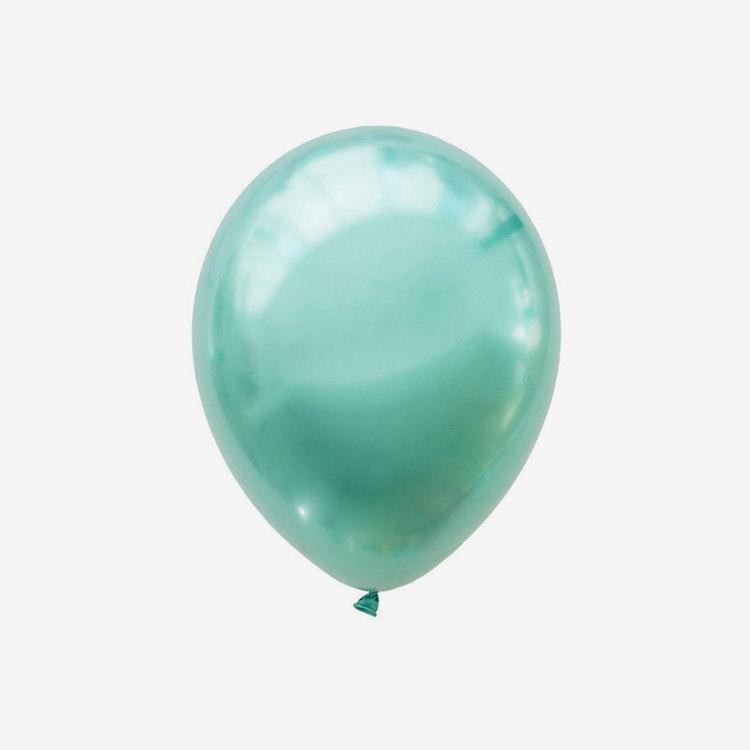 Heliumfylld latexballong 28cm - Chrome Grön