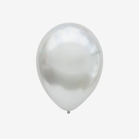 Heliumfylld latexballong 28cm - Chrome Silver
