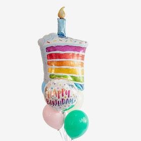 Heliumfylld Ballongbukett - Rainbow Cake