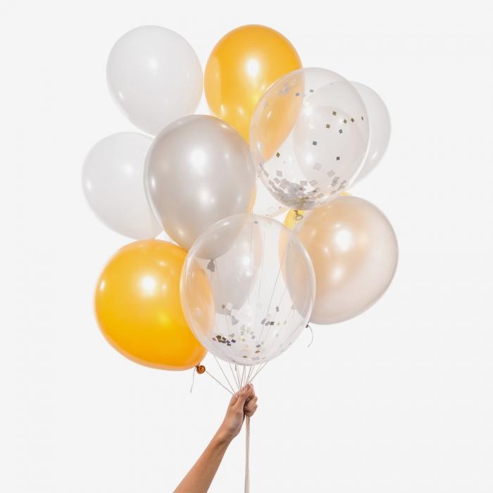 Heliumfylld Ballongbukett - Silver and Gold