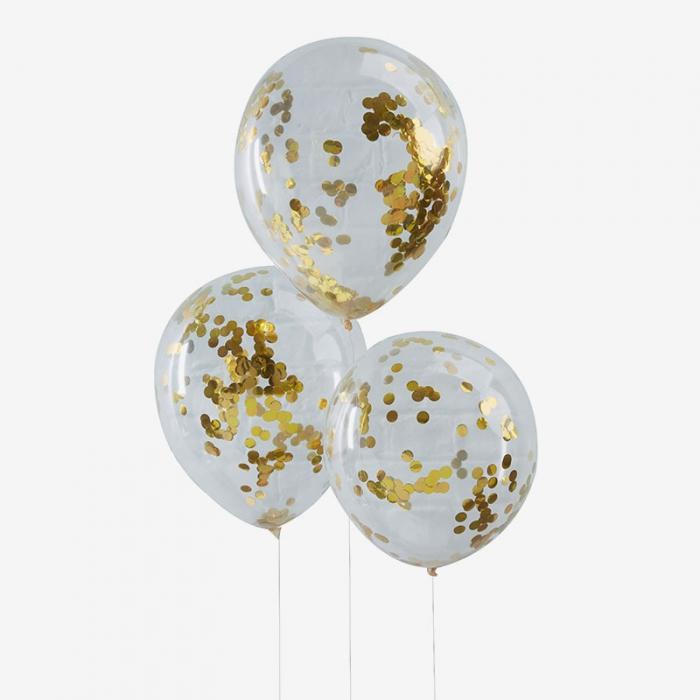 Heliumfylld Ballongbukett - Gold Konfetti Crush