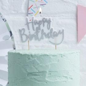 Tårtljus Happy Birthday Silver