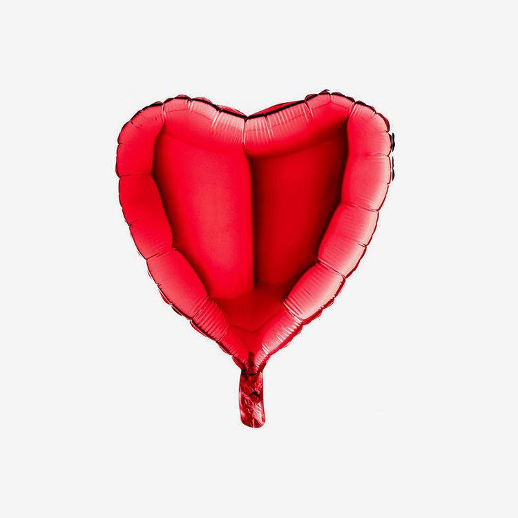 Heliumfylld Folieballong - Hjärta Röd