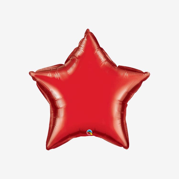 Heliumfylld Folieballong - Stjärna Röd