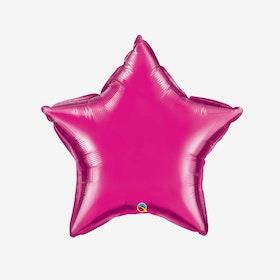 Heliumfylld Folieballong - Stjärna Fuchsia