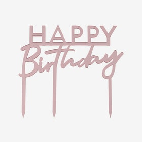 Tårtdekoration - Happy Birthday - Rosé