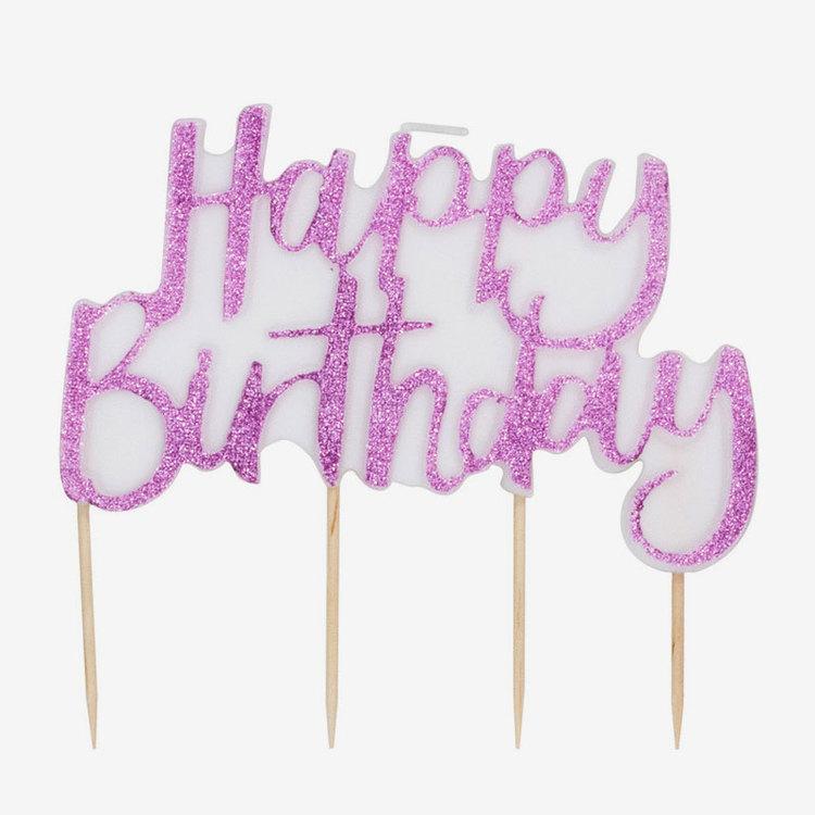 Tårtljus - Happy Birthday - Rosa Glitter