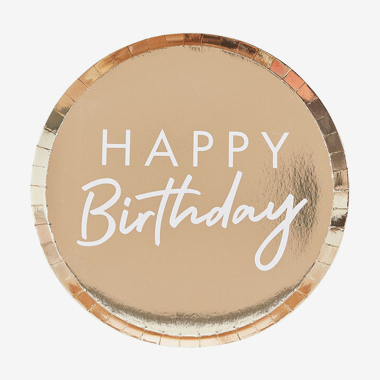 Tallrikar - Happy Birthday - Guld