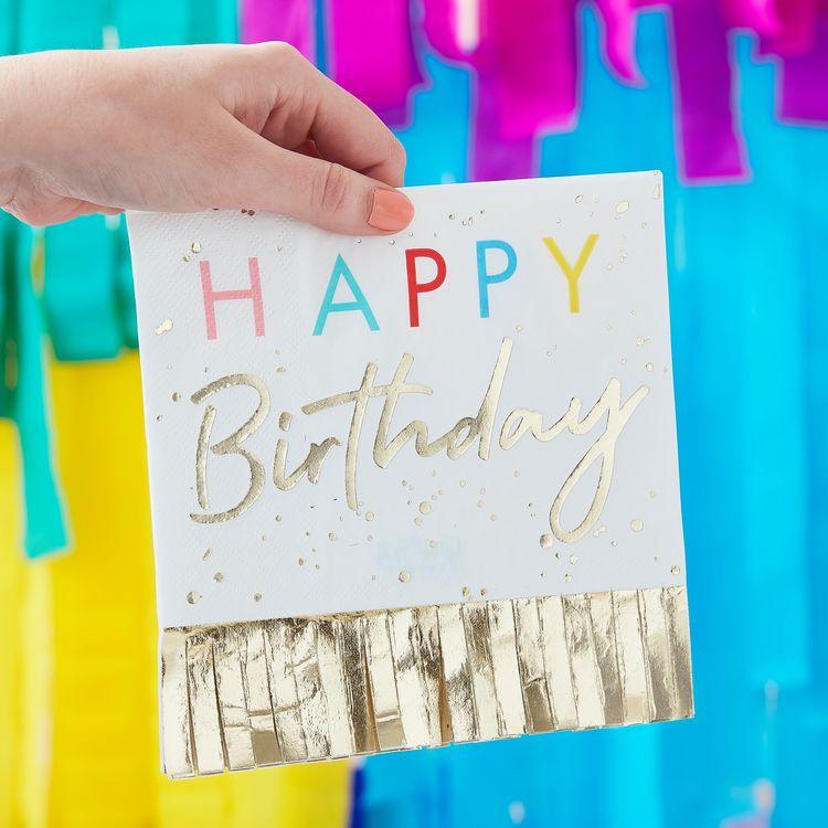 Servetter - Happy Birthday - Fringes
