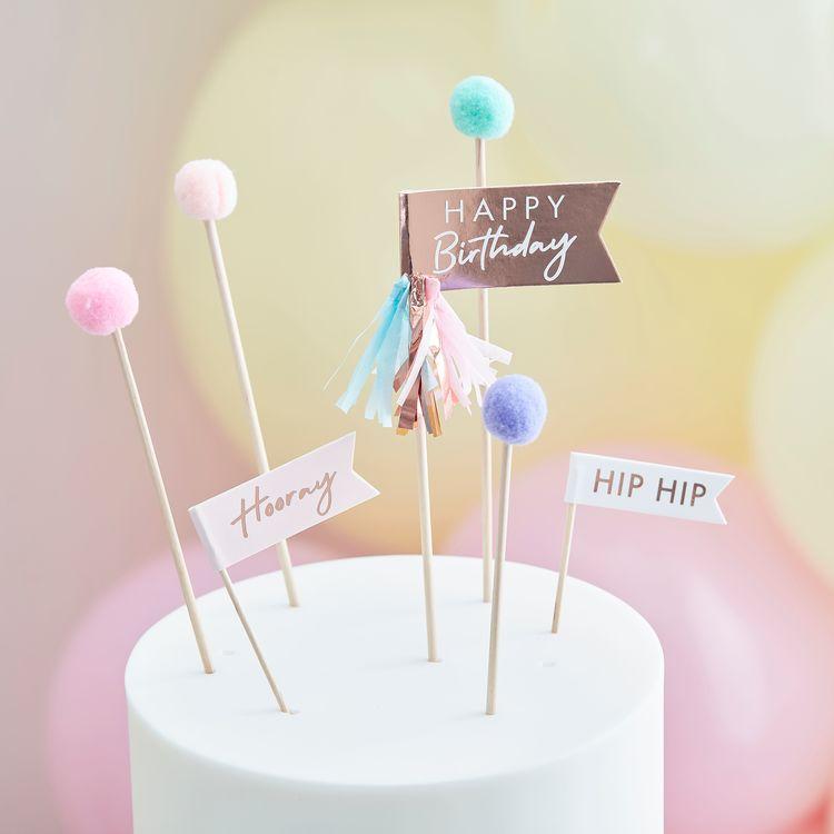Tårtdekoration - Pom Pom - Pastell