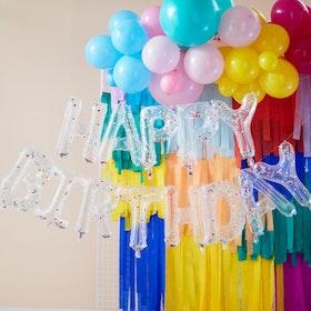 Ballong girlang - Happy Birthday - Konfetti