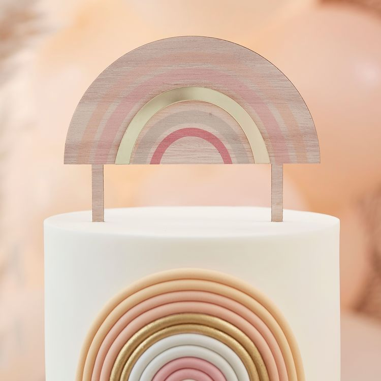 Tårtdekoration - Rainbow - Trä