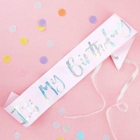 Sashband - It's my  Birthday - Pastellrosa