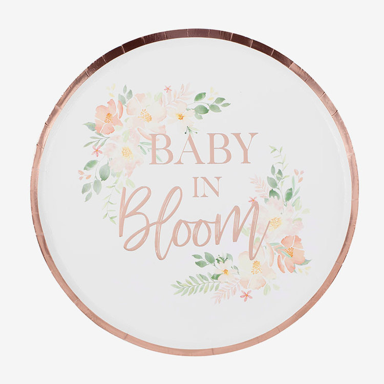 Tallrikar - Babyshower - Baby in Bloom