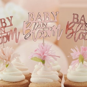 Cupcake toppers - Baby in Bloom - Rosé