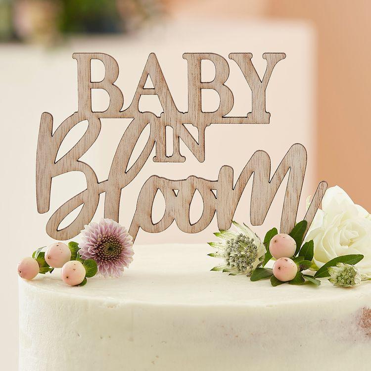 Cake topper - Baby in Bloom - Trä