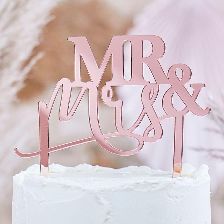 Cake topper - Mr & Mrs - Rosé