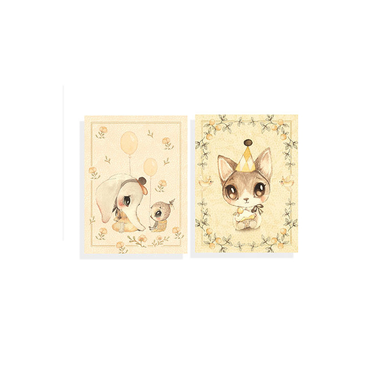 2-pack kort Ellie & Meow -  Mrs Mighetto