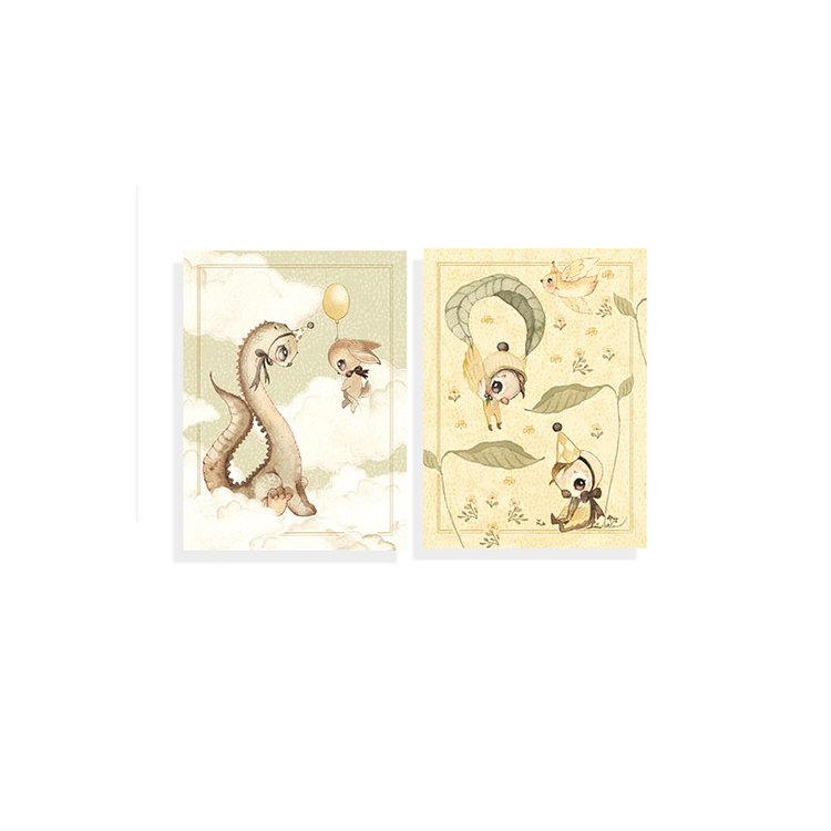 2-pack kort Dino & Friends -  Mrs Mighetto