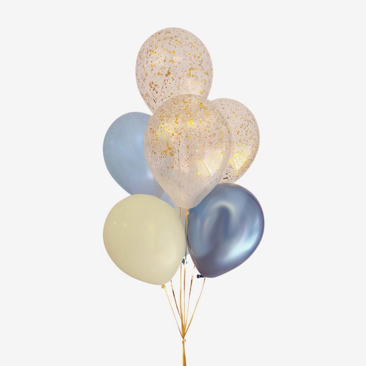 Heliumfylld Ballongbukett - Student - Blue & Ivory