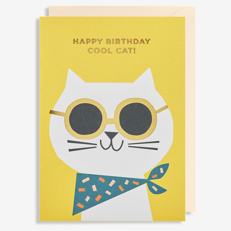 Kort - Happy birthday Cool Cat