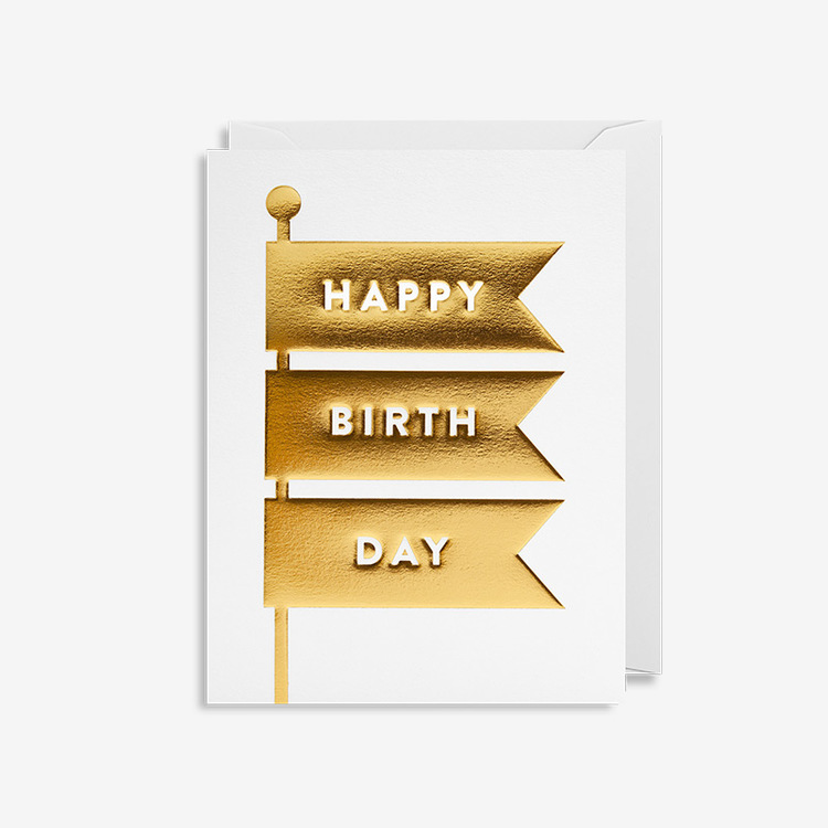 Kort - Happy Birthday - Gold Flags