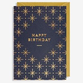 Kort - Happy Birthday - Blå/Guld