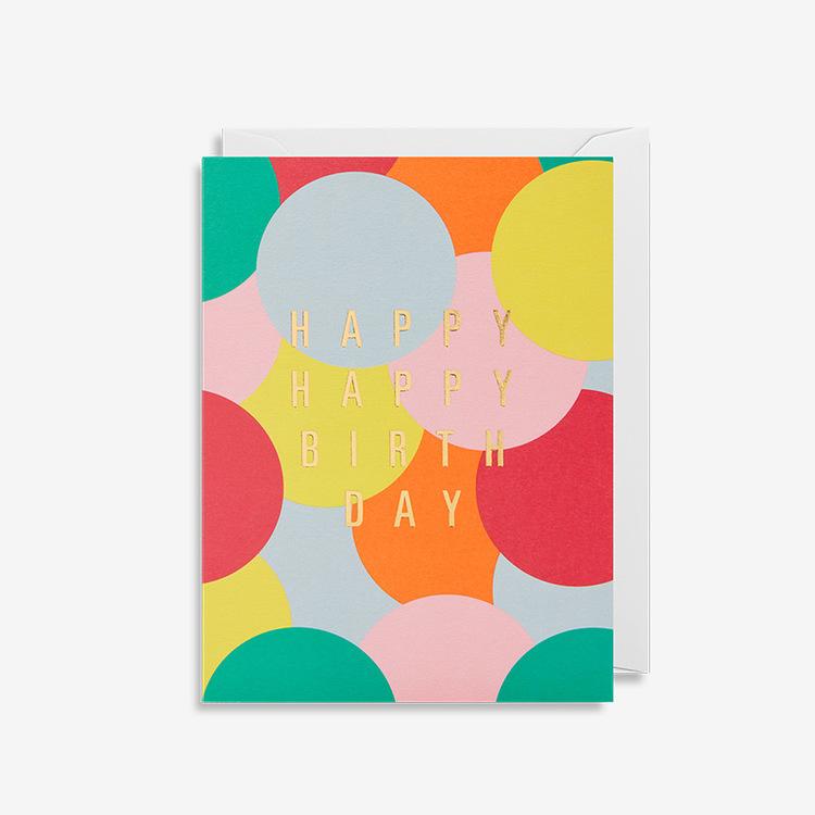 Kort - Happy Birthday - Color Circles