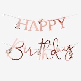 Girlang - Happy Birthday - Roséblomster