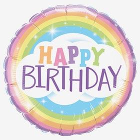 Folieballong - Happy Birthday - Rainbow