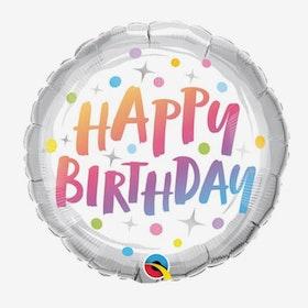 Folieballong - Happy Birthday - Rainbow Dots