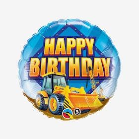 Folieballong - Happy Birthday - Grävskopa