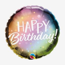 Folieballong - Happy Birthday - Metallic Ombre