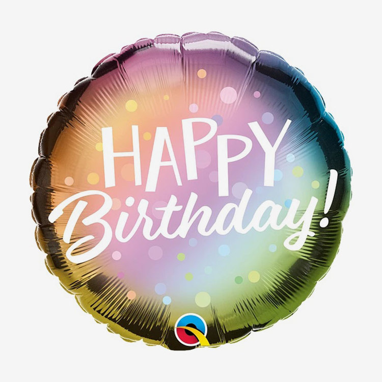 Ballongpost  - Happy Birthday - Metallic Ombre