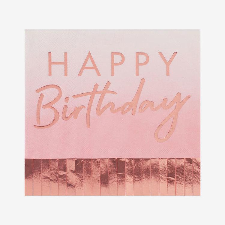 Servetter - Happy Birthday - Fringes Rosé