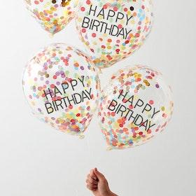 Konfettiballonger - Happy Birthday - Rainbow