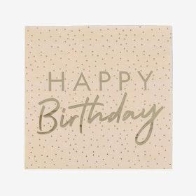 Servetter - Happy Birthday - Peach Gold