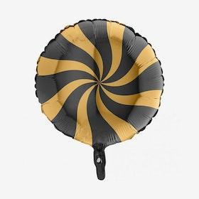 Folieballong - Candy Svart & Guld