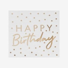 Servetter - Happy Birthday - Guld