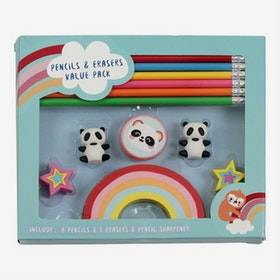 Set med pennor och sudd - Panda