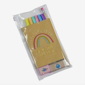 Set med pennor och block - Rainbow