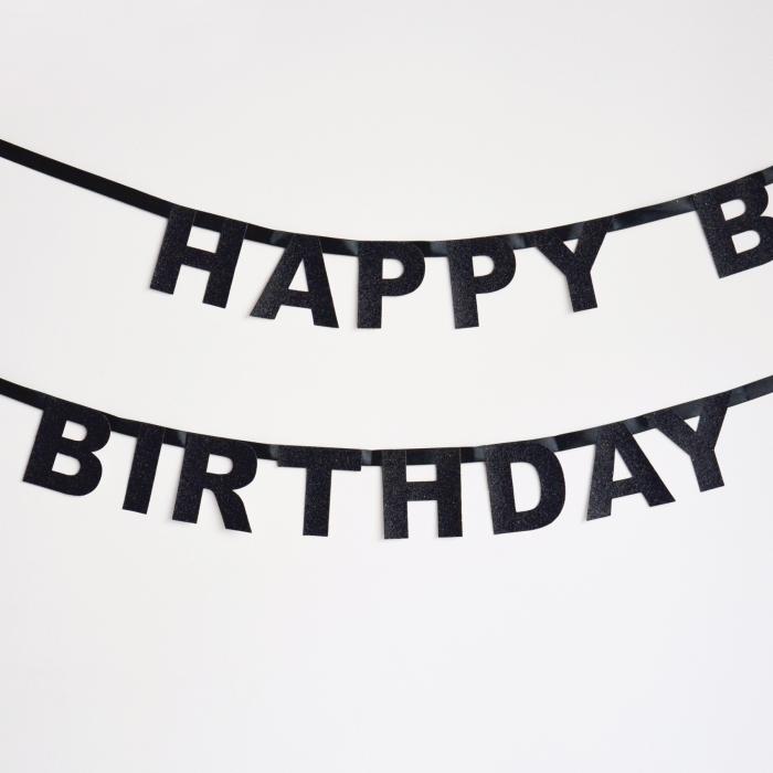 Girlang Happy Birthday svart