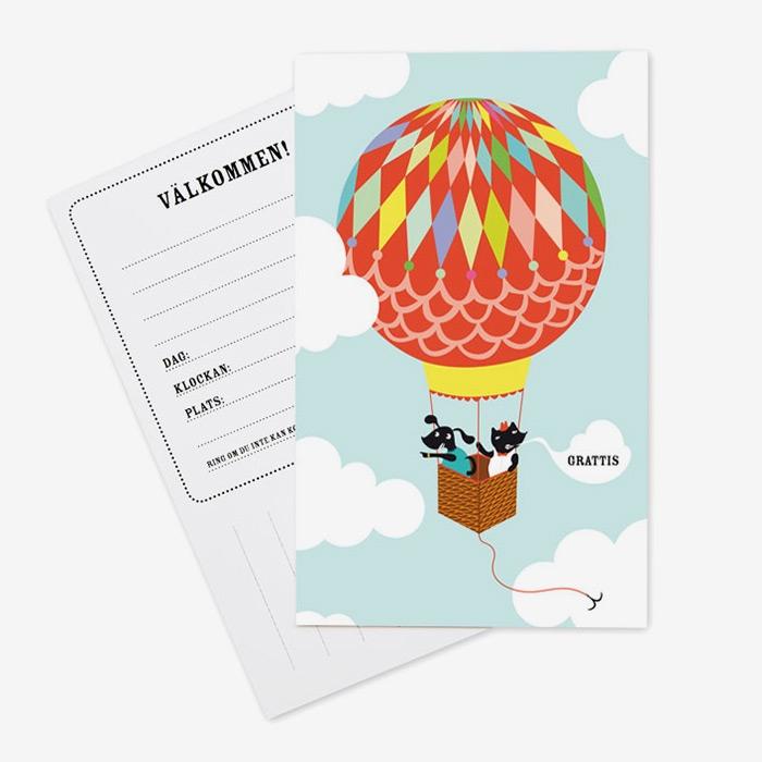 Inbjudningskort Luftballong