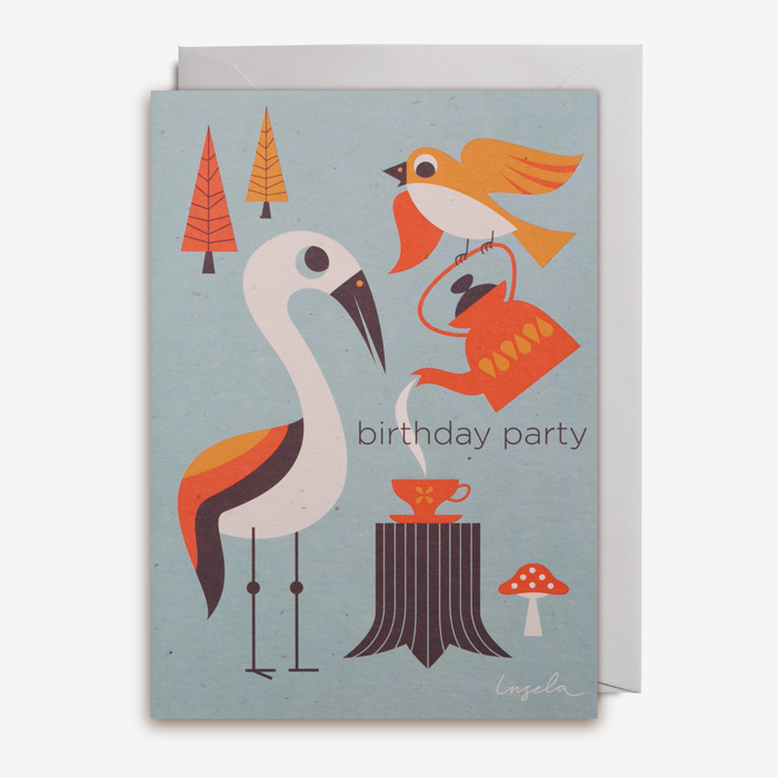 Grattiskort Bird party